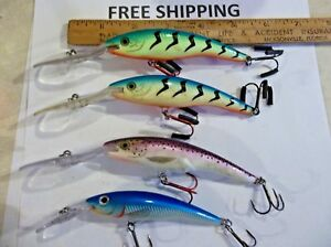 Lot of 4 rapala tail dancer fishing lures 3 CRANKBAITS TACKLE BOX FIND USED