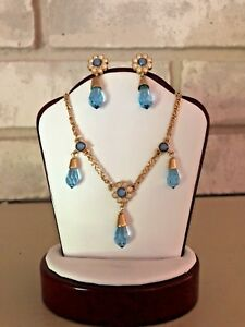 GIVENCHY Necklace Earring Set Teardrop Baby Blue Crystal Enamel Daisy Flower