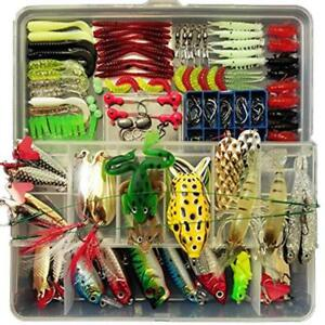 Plastic Fishing Lures Set for Freshwater Saltwater with Hard Tackle Box 180 pcs