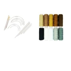 24Pcs Set Hand Sewing Curved Needles amp; Threads for Carpet Repair Upholstery $9.17