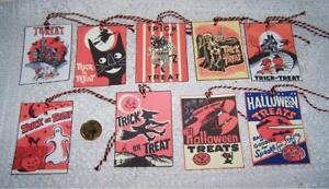 9~Halloween~Retro~Trick or Treat~Fussy Cut~Linen Cardstock~Gift~Hang~Tags~Ornies