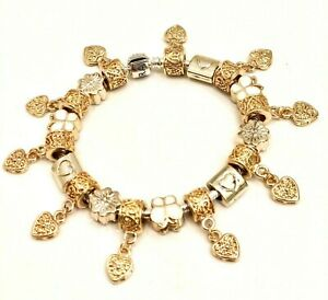 AUTHENTIC PANDORA  BRACELET W CHARMS GOLD! GOLD! GOLD! CHOICE OF BOX