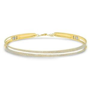 1.91CT 14K Yellow Gold Diamond Pave Choker Necklace Diamond Choker Necklace