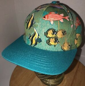 Vintage CHEFWEAR 90s USA Tropical Fish All Over Print Teal Blue Hat Cap Snapback