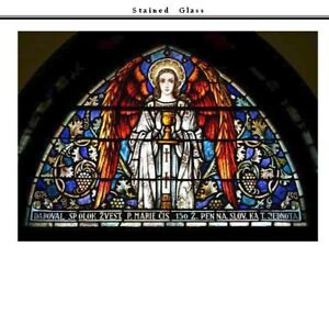 Stained Glass Window of Angel with Chalice in Frame 55