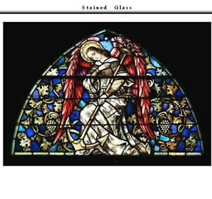 Stained Glass Window of Angel with Anchor in Frame 55