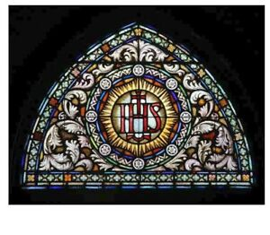 Rare Vintage Stained Glass IHS Window in Frame 60