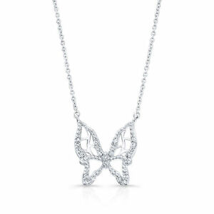 0.11 TCW Diamond Floating Butterfly Necklace In 18k White Gold