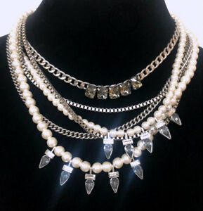 Retired Chloe + Isabel Pearl Crystal Multi Strand Drop Statement Necklace Silver
