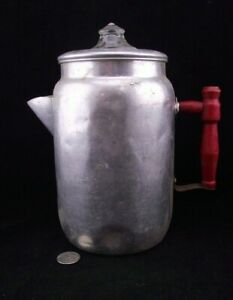 VINTAGE 10quot; TALL CAMP COFFEE POT PERCOLATOR ALUMINUM W RED HANDLE COMPLETE C $29.88