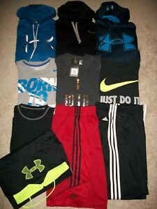 GUC! LOT OF 10 MENS SIZE L ATHLETIC NIKE UNDER ARMOUR HOODIES SHORTS TOPS SWEATS