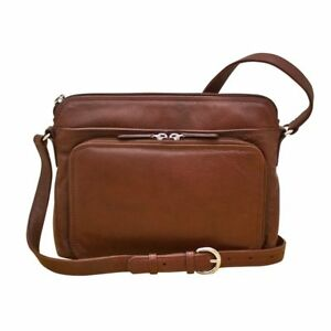 Genuine Leather ILI New York Cross Body Shoulder  #6333 Handbag Redwood