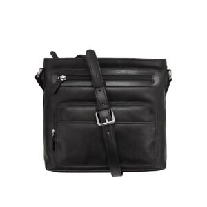 Genuine Leather ILI New York  #6004 Cross Body Messenger Bag Handbag Black
