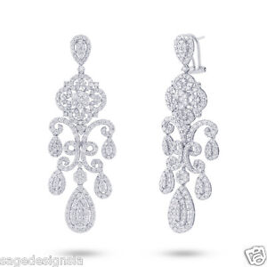 Elegant 7.05 CT 18K White Gold Vintage Antique Design Diamond Chandelier Earring