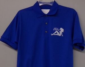Ford Motors Mudflap Trucker Girl Embroidered Mens Polo XS-6XL LT-4XLT New