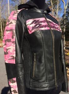 Harley Davidson Pink Camo 3N1 Leather Jacket Women's XS Hoodie Black