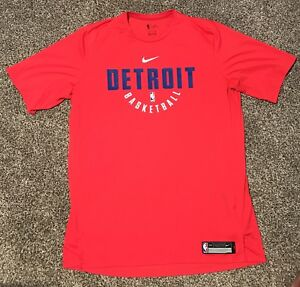 Nike  NBA Detroit Pistons Basketball Dri-Fit Red Shirt Adult Size XXL 2XL Tall
