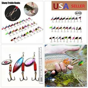 30 PCS Fishing Lures Spinner-bait For Bass Trout Walleye Salmon Perch Crappie