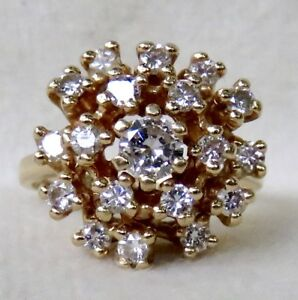 VINTAGE BIG .80 CT. VS2-SI1 BRILLIANT CUT DIAMOND 14K GOLD COCKTAIL CLUSTER RING