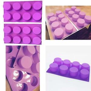 Reton 2 Pack 8-Cavity Round Silicone Mold For Soap Cake Bread Cupcake
