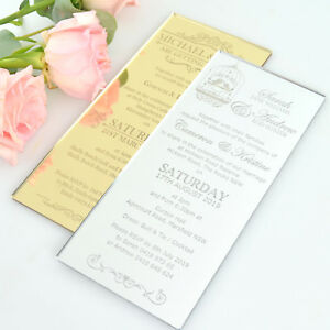 PACKAGE DEAL 50x Personalised Engraved Acrylic Wedding Invitations DL size
