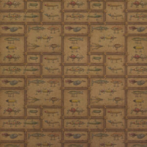 Antique Lures Fish Fishing Stream Fly Kraft Roll Gift Wrap Wrapping Paper