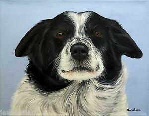 Custom Pet Painting Pet Portrait Dogs Cats Animal Artist Sharon Lamb Pet Loss $110.00