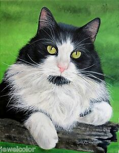 Custom Pet Painting Pet Portrait Cats Dogs Animal Artist Sharon Lamb Pet Loss $155.00