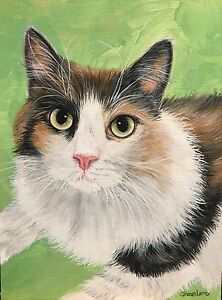 Custom Pet Painting Pet Portrait Hand Painted Animal Artist Sharon Lamb Pet Loss $155.00