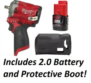 Milwaukee 2555 20 M12 FUEL Stubby 1 2 Drive Impact Wrench With Boot and Battery $214.99