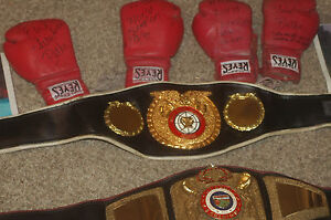 REAL 1997 WORLD BOXING FEDERATION CHAMPIONSHIP BELT W GLOVES SHORTS PHOTOS MORE