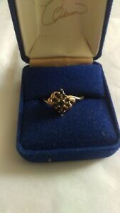 Vintage 14K GOLD SAPPHIRE CLUSTER COCKTAIL RING SIZE 9 14