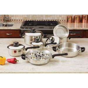 ON SALE Professional Series Maxam 17-pc T304 Stainless Steel Cookware Set KT172