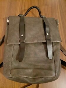 Salvatore Ferragamo Moss Green Men's Leather Briefcase Backpack Tote Bag