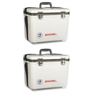 Engel 19 Quart Fishing Live Bait Dry Box Ice Cooler with Strap White (2 Pack)