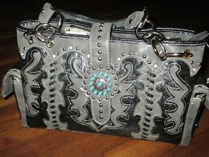 Gray & Black Tooled Leather Pattern Western Bag~~Concho Strap Closure