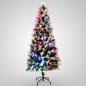 7ft Pre Lit Fiber Optic Artificial Christmas Tree Snow Multicolor Lights Stand