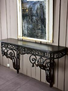 Large Louis XVI console table with black marble top