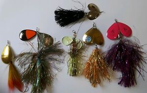 Lot of 6 Musky Mayhem Spinner Baits Muskie Lures Blue Fox Cowgirl Showgirl