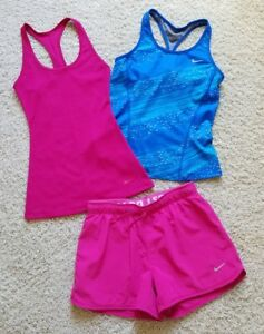 Lot of 3 Girl's Nike Dri-fit Tennis Running Athletic ShirtsShorts Size L