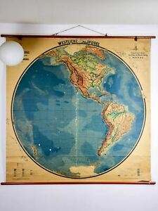 Very large antique map of the world in German