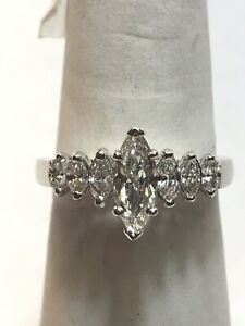 Platinum Marquise Diamond Engagement Ring 1.45 Carats FSi1 Natural Size 7 Nice!