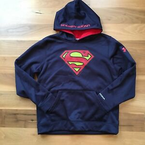 Under Armour Boys Hoodie Sweatshirt Superman Blue Red Size Large