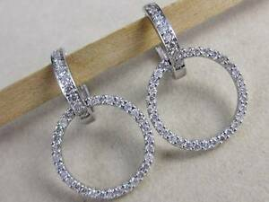 MODERN LARGE PAVE DIAMOND HANGING FRONT HOOP 14KT WHITE GOLD EARRINGS #E25455WP