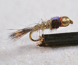 1 Doz BH Gold Ribbed Hares Ear FB Mayfly Nymph Flies Mustad Signature Fly Hook