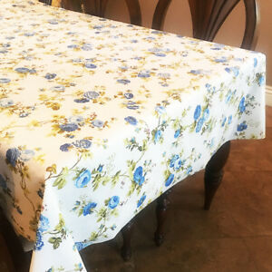 lovemyfabric Blue On White Vintage Floral Cotton Tablecloth