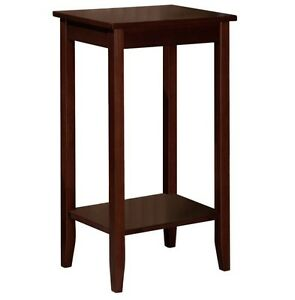 Small Tall Table High Top Portable Brown Wood Furniture Stand Living Room Coffee