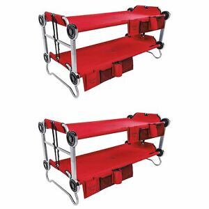 Disc-O-Bed Youth Kid-O-Bunk Benchable Camping Cot with Organizers Red (2 Pack)