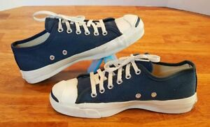 Vintage CONVERSE JACK PURCELL Canvas Sneakers Navy Blue Made in USA Sz 6 Mens