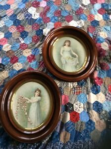 Antique Louis Prang chromolithographs of Jennie Brownscombe art in walnut frames